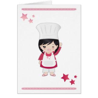 Mulher do cozinheiro chefe do cartão de nota