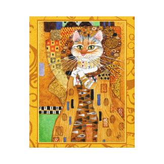 Mulher do gato de Klimt na paródia da arte do ouro Impressão Em Tela