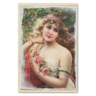 Mulher do Victorian com lenço de papel cor-de-rosa