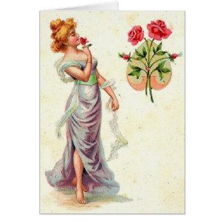 Mulher do Victorian e cartão de nota das rosas