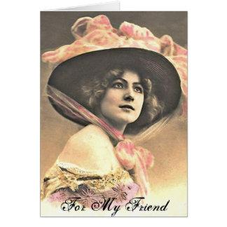 Mulher do vintage com chapéu cartão comemorativo