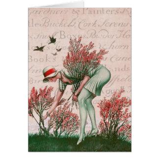 Mulher do vintage do cartão da forma olá!