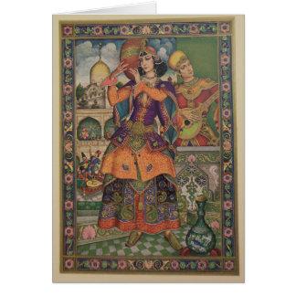 Mulher do vintage do cartão do impressão de India