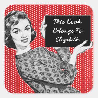 mulher dos anos 50 com um Bookplate do sinal Adesivos Quadrados