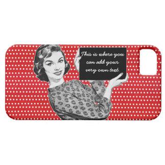 mulher dos anos 50 com um sinal capa para iPhone 5