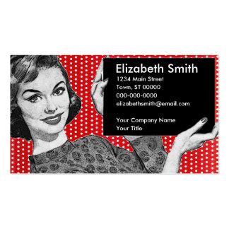 mulher dos anos 50 com um sinal modelo cartoes de visitas