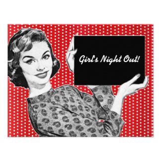 mulher dos anos 50 com um sinal convite personalizados