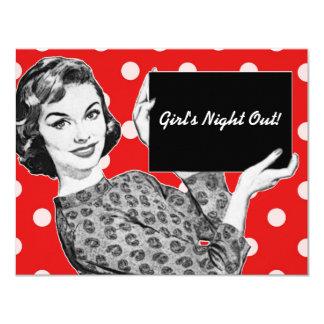 mulher dos anos 50 com um sinal convite personalizado