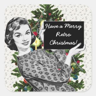 mulher dos anos 50 com um sinal do Natal Adesivo Quadrado