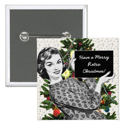 mulher dos anos 50 com um sinal do Natal Pins