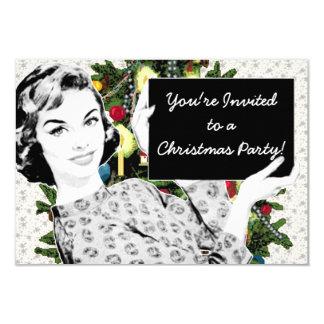 mulher dos anos 50 com um sinal do Natal Convite Personalizado