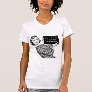 mulher dos anos 50 com um sinal camisetas