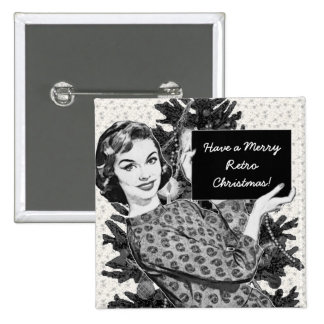 mulher dos anos 50 com um sinal V2 do Natal Boton