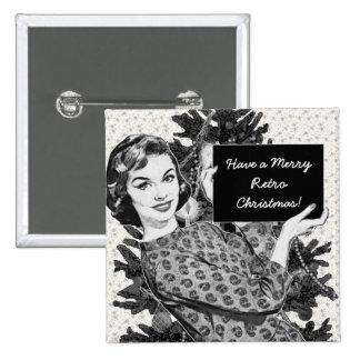 mulher dos anos 50 com um sinal V2 do Natal Bóton Quadrado 5.08cm