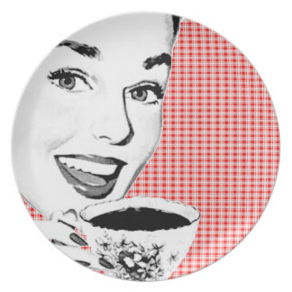 mulher dos anos 50 com um Teacup V2 Prato De Festa