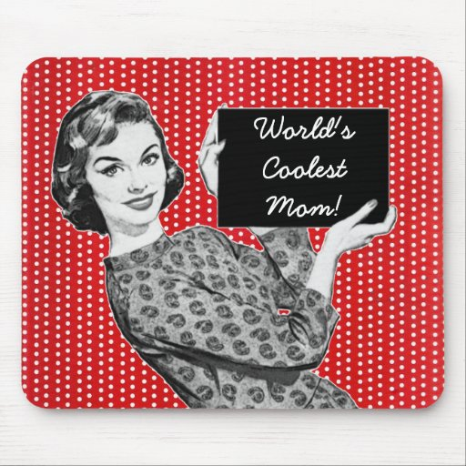 mulher dos anos 50 com uma mamã do sinal mousepad