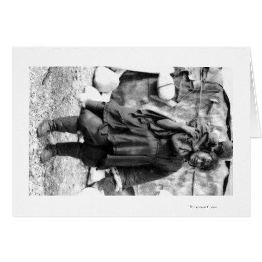 Mulher e criança Eskimo na fotografia de Alaska Cartao