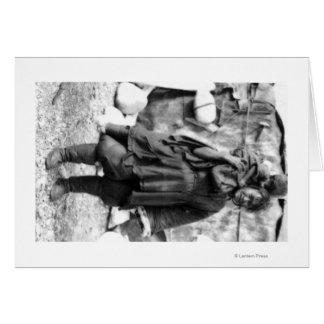 Mulher e criança Eskimo na fotografia de Alaska Cartão Comemorativo
