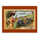 Mulher e Pansies Canoeing Cartão Postal