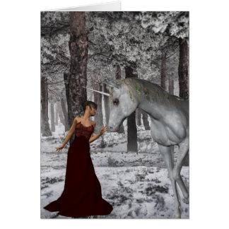 Mulher e unicórnio no cartão da neve + Env