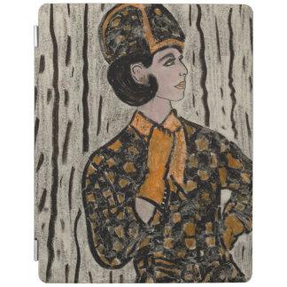 Mulher em preto e na laranja capa smart para iPad