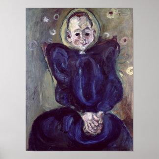 Mulher em um vestido azul pôster
