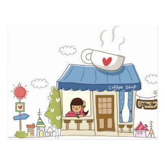 Mulher em uma cafetaria cartão postal