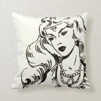 Mulher exótica da história em quadrinhos travesseiro de decoração