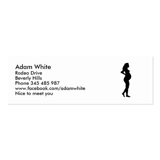 Mulher gravida modelo cartões de visitas