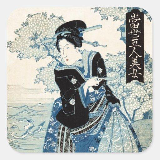 Mulher japonesa legal da senhora da gueixa do ukiy adesivos quadrados