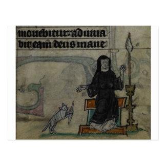 Mulher medieval que gira com gato cartão postal