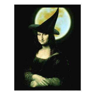 Mulher Mona Lisa o Dia das Bruxas de Witchy Panfleto Personalizados