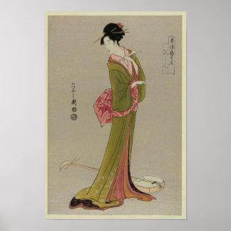 Mulher na arte japonesa do vintage do quimono poster
