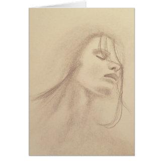 Mulher no cartão da arte da chuva