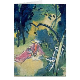 Mulher no jardim cartão comemorativo
