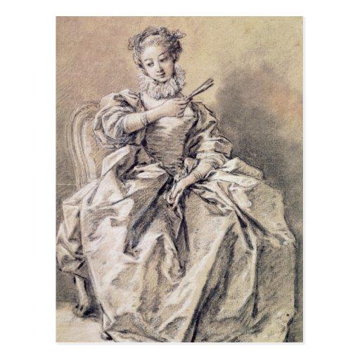 Mulher no traje espanhol cartao postal