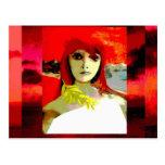 Mulher no vermelho - cartões postais