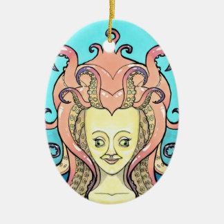 Mulher polvo pingente ornamento de cerâmica oval