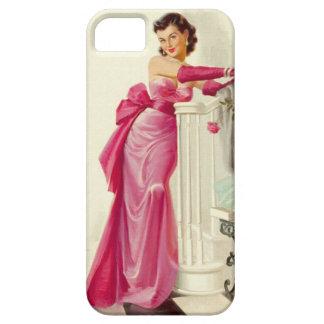 Mulher retro dos anos 50 com rosas capa para iPhone 5