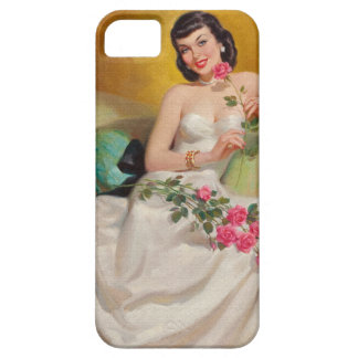 Mulher retro dos anos 50 com rosas capa barely there para iPhone 5
