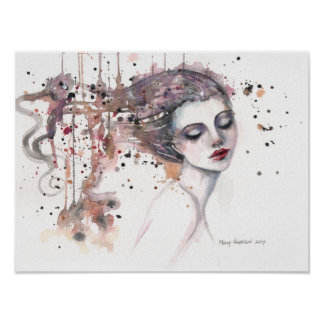 Mulher satisfeita da arte da aguarela da fantasia poster