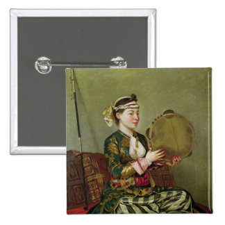 Mulher turca com um pandeiro bóton quadrado 5.08cm