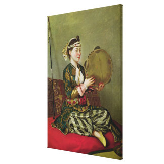 Mulher turca com um pandeiro impressão em canvas