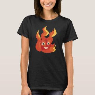 Mulheres ardentes felizes do caráter da chama do camiseta