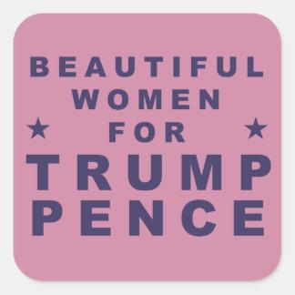 Mulheres bonitas para a etiqueta 2016 do adesivo quadrado