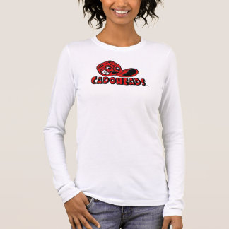 Mulheres brancas & T longo vermelho de CapoHeads Camiseta Manga Longa