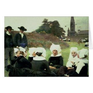 Mulheres bretãs que sentam-se em um perdão cartão comemorativo
