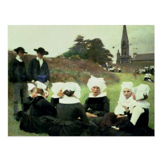 Mulheres bretãs que sentam-se em um perdão cartão postal
