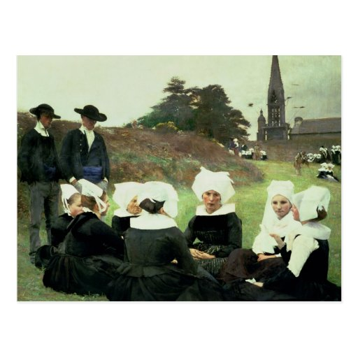 Mulheres bretãs que sentam-se em um perdão cartoes postais