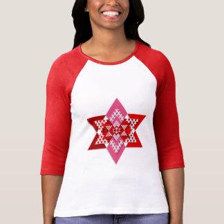 Mulheres cor-de-rosa e t-shirt à moda vermelho da camiseta